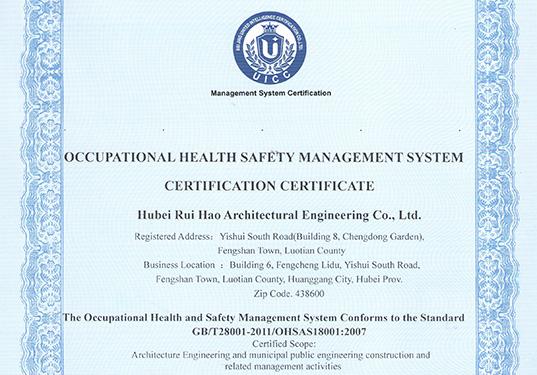 职业健康管理体系证书(英)